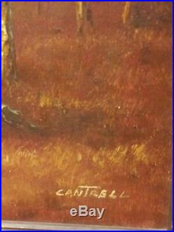 Phillip Cantrell Vintage SIGNED Landscape Trees OIL painting on LARGE canvas