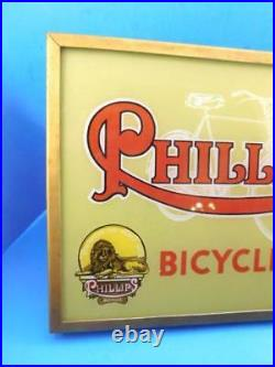 Phillips Bicycles Vintage Advertising Sign Light Up Reverse Painted