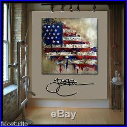 Pop art abstract vintage American Flag painting patriot Canvas print Fidostudio