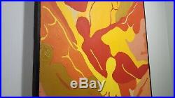 Psychedelic Nudes Vintage Oil Painting Retro Swirling Naked Women Framed Canvas