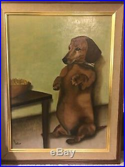 Quirky Vintage Mid-century Large Dachshund Weiner Dog Painting American Folk Art