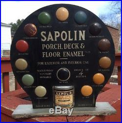 RARE 1910s Sapolin Paint Can Store Counter Display Gas Oil Auto Antique Sign Vtg