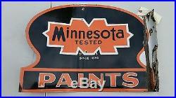 RARE Minnesota Paints double side flange Porcelain sign orange black vintage HTF