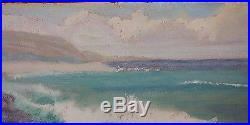 RARE ORIGINAl HAWAII VINTAGE OIL PAINTING SIGNED DATED 1951 NEAR BLOW HOLE OAHU