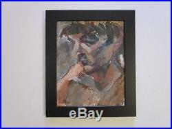 Rare Signed Robert Lerner Painting Abstract Expressionist Portrait Modernism Vtg