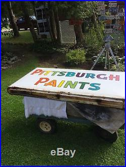Rare Vintage Pittsburgh Paints Rainbow Double Sided Sign With Hanger Brackets