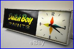 RARE Vintage 1960s DUTCH BOY PAINTS Animated Lighted MOTION SIGN & Clock AWESOME