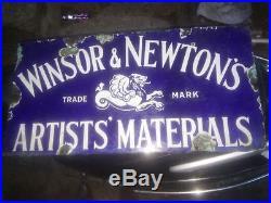 Rare Winsor & Newton's Artist Oil Watercolor Paint Vintage Porcelain Enamel Sign