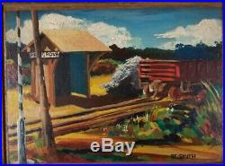 RE Smith Chicago Vintage 1940's WPA Era Old Railroad Train Station Oil Painting