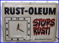 RUST-OLEUM Vtg Advertising Sign Light Clock NICE Store Paint Graffiti Display NR