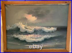 R. Evans Large Oil On Canvas Sea Scene vintage Painting, Original Artist Frame