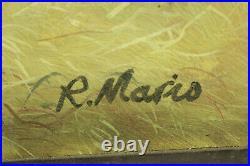 R Mario Original Oil Art Painting On Wood Board Lamb Sheep in Barn Framed Signed