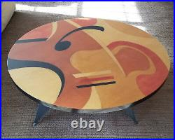Rare Modernist Signed Benjamin Le Abstract Wood Inlay Painted Coffee Table 48