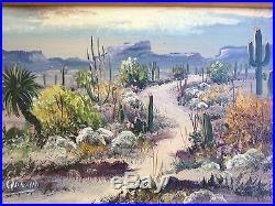 Rare, Signed Palencia Vintage Oil Painting Plein Air or Desert Landscape Framed
