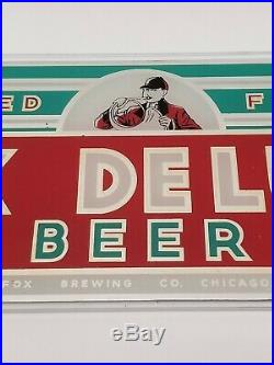 Rare VTG Peter Fox Deluxe Beer Reverse Paint Glass Bar Display Sign Chicago, IL