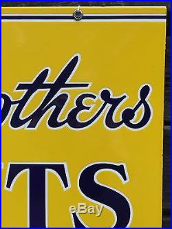 Rare Vintage LOWE BROTHERS PAINTS 2 Sided Porcelain Sign Mint! LOOK