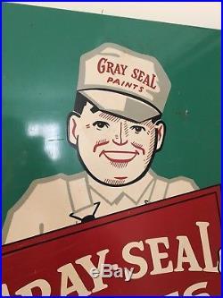 Rare Vintage Original Gray-Seal Paints Sign, 1950s