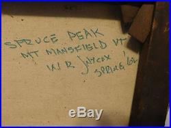 Rare Vtg 1962 W. R. Jaycox Spruce Peak Stowe VT Ski Mt Signed Canvas Oil Painting