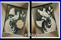 Retro-Mod 1954. Carlo of Hollywood! Signed Set of 2 Original Framed Watercolors