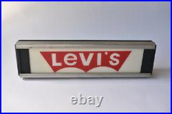 Reverse Painted Glass Levis Advertising Sign NPI Neon Products Vintage Antique