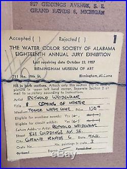 Reynold Weidenaar Original Signed Water Color Painting Coming Of Winter Vintage