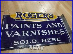 Rogers Paints and Varnishes Vintage Sign blur and yellow porcelain antique