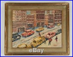 SAMUEL ROTHBORT Vintage WPA Era New York City Street Scene Ashcan Oil Painting