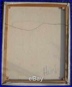 SENSATIONAL vintage 1962 MID CENTURY MODERN ABSTRACT PAINTING signed HUISH