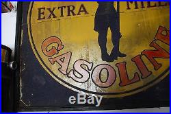 SUPER RARE Vintage Conoco Sand Paint Sign Minuteman