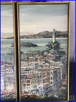 San Francisco Bay Tryptych Oil Painting, Landscape Art, Panoramic Painting