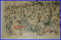 San Francisco Cityscape Watercolor Painting Vintage 1969 Yamaguti Yoshitsugu