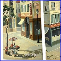 Set of 3 Vintage Paint by Number Art France French Street Life Scene Midcentury