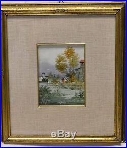 Set of 4 Vintage Signed Miniature Landscape Paintings in Gold Antique Frames