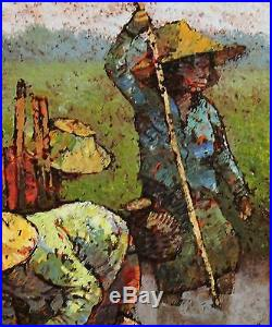 Signed 1974 Vintage Oil Painting, Thailand or Philipines Rice Paddy Farmers