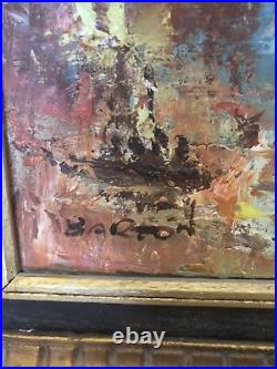 Signed Barton Oil On Canvas Art Painting Vintage