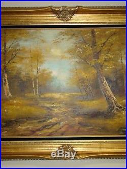Signed Cantrell Vintage Original Framed Large Forest Landscape Oil Painting
