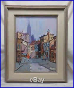 Signed Estate 1975 European Street Scene Oil Painting in Wooden Vintage Frame