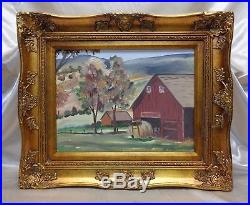 Signed Estate Found Vintage Old Barn by the Hills Oil Painting on Canvas Panel