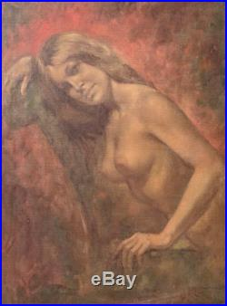 Signed Female nude Oil Painting by California artist Leo Jansen ornate frame
