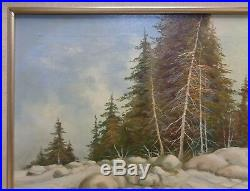 Signed Harris Estate Vintage Pine Trees in Snowy Creek Landscape Oil Painting
