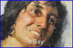 Signed Italian Artist T. Blasetti Vintage Woman Portrait Oil Painting on Canvas