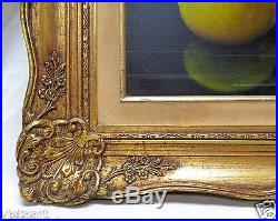 Signed Lemon & Apple Still Life Art with Decorative Vintage Frame- 19x22 Belgium
