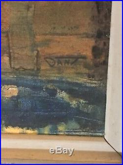 Signed Original Mid Century Painting VINTAGE Abstract Oil On Artist Board DANT