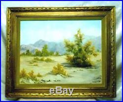Signed S. Stewert Vintage California Desert Landscape Oil Painting (Framed)