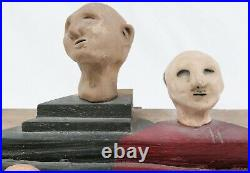 Signed Vintage 1988 Unique Modern Art Family Painted Sculpture Pottery Wood Bust