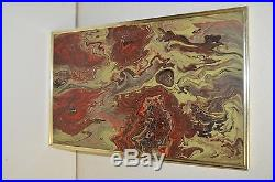 Signed Vintage Abstract Mid Century Modern Style 1978 Original Painting on Board