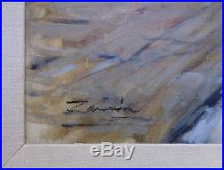 Signed Vintage City escape Street Scene Oil Painting in Antique Wooden Frame
