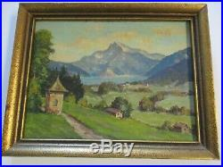Small Gem Oil Painting Lake Mountain Homes View Landscape Antique Vintage Signed
