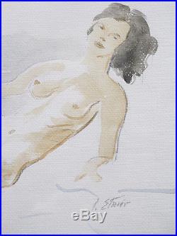 Stephen Etnier SIGNED Vintage Reclining Nude Brunette Watercolor Painting NR yqz