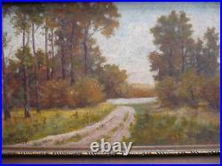 Stockinger. Antique Oil Vintage Landscape Trees Luminous Vintage Painting Signed